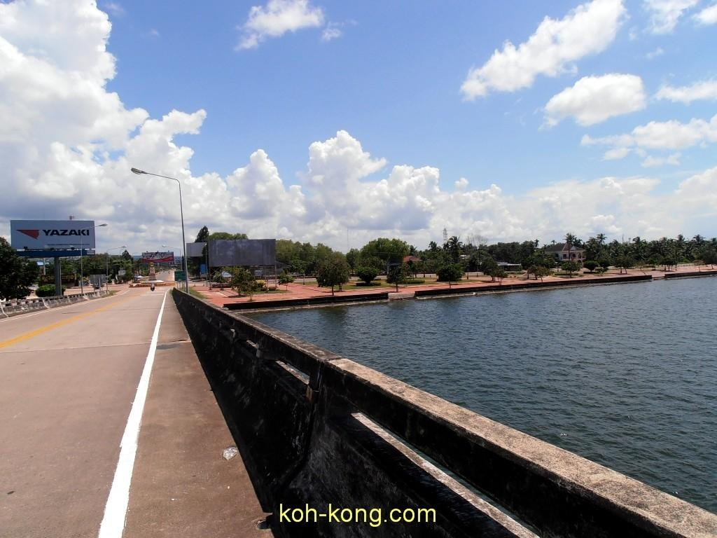 From the border Thailand Cambodia. Cross the bridge to the city of Koh Kong.