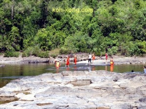 Monks seen at Tatai Waterfall.