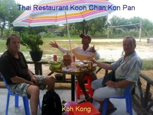 With Mister Han in Chris Restaurant in Koh Kong.