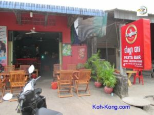 Street view of the pasta bar in Koh Kong.