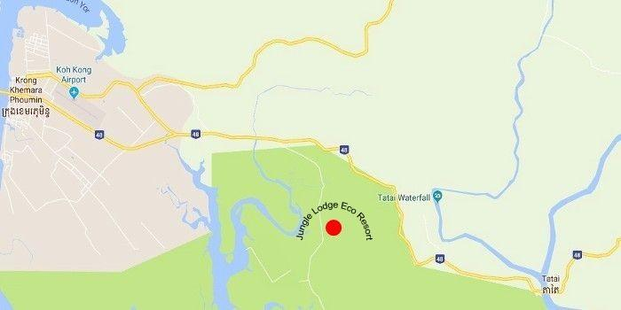 Map from Koh Kong to the Jungle Lodge Eco Resort.