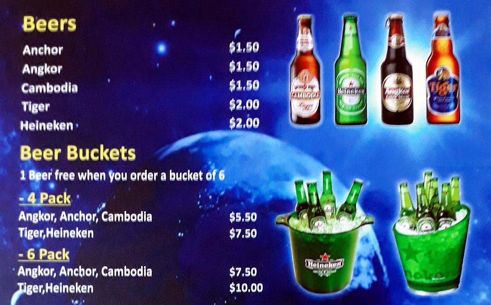 Beer and Beer Buckets Menu