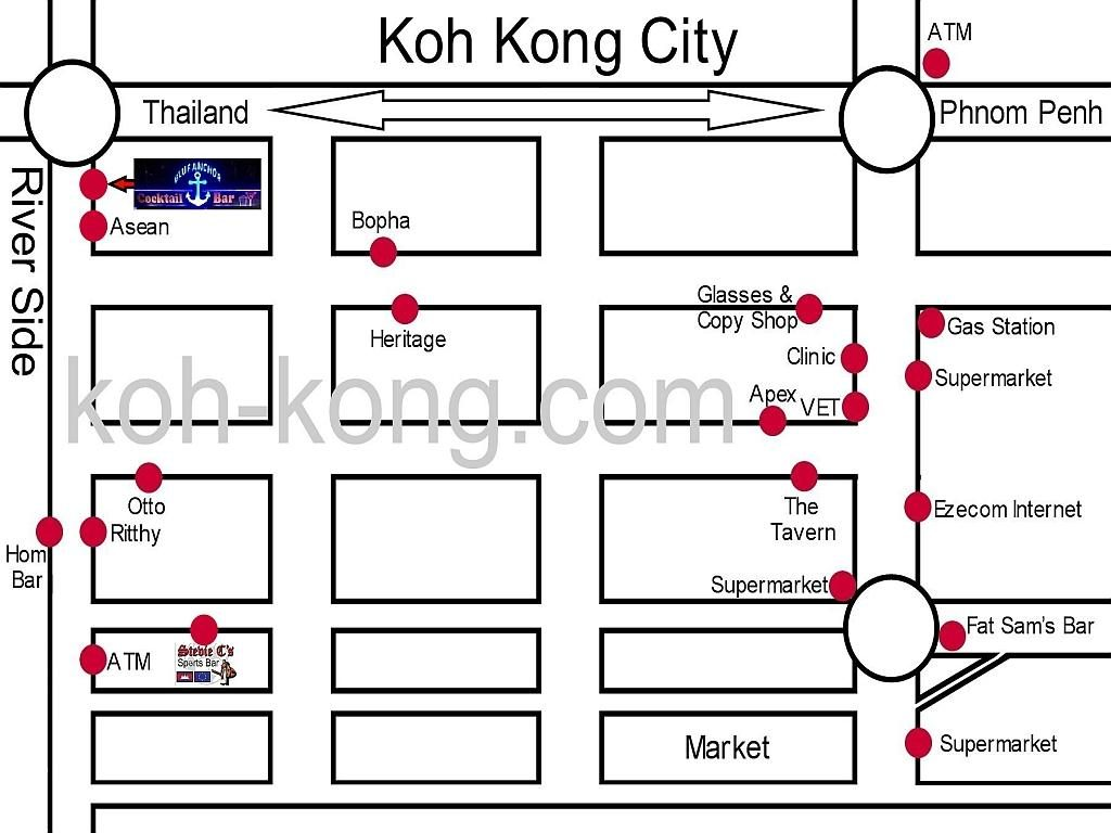 Koh Kong, Stevie's Bar and Restaurant Map.