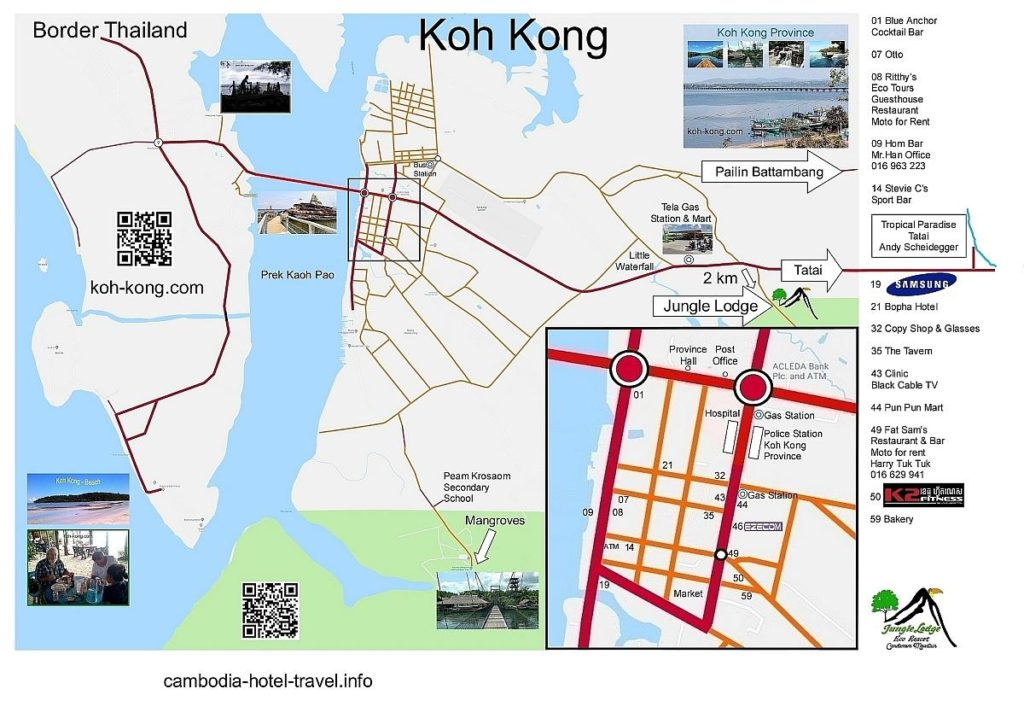 Koh Kong city, province, mangrove, cardamom mountains and beach map.
